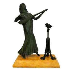 Bronze musicienne egyptienne Obiols 20eme siecle
