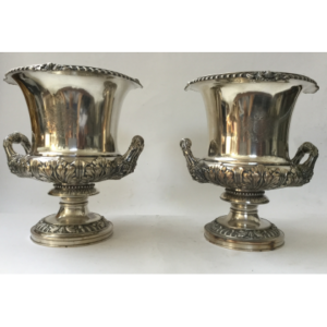 Pair of wine coolers in silver plated metal 20 th