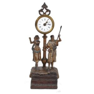 clock with oriental musicians polychrome metal 19th century