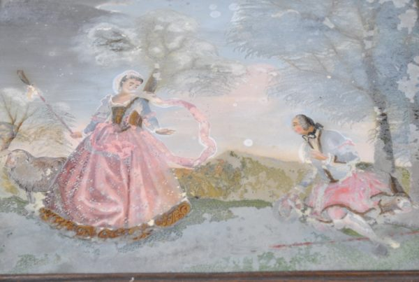 Reverse glass-painted pastoral scene 18th