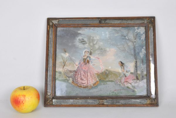 Reverse glass-painted dimensions 18th century