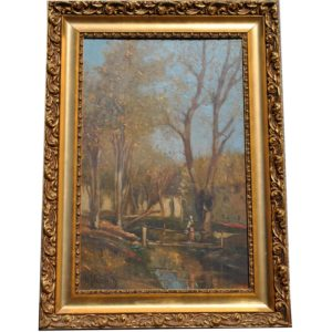 Painting with frame woods in fall