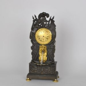 clock with automaton and lion in bronze restauration period